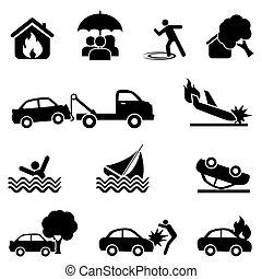 baleset, állhatatos, biztosítás, ikon