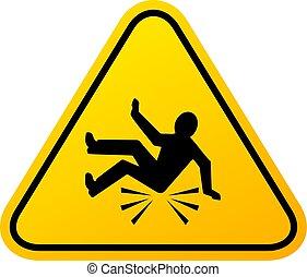 baleset, aláír, bukás, figyelmeztetés