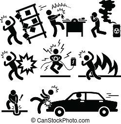 baleset, felrobbanás, kockáztat, veszély