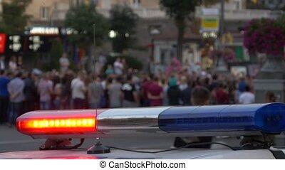 baleset, rendőrség, road., állati tüdő, autó., villanás