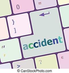 baleset, számítógép, gombol, beír, ábra, vektor, kulcs, billentyűzet