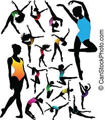 balett, állhatatos, táncol, körvonal, v, leány