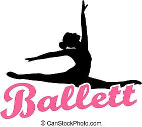 balett, szó, német, táncos, retro, ballett