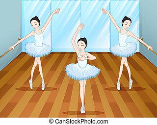 balett táncol, belső, táncosok, három, műterem
