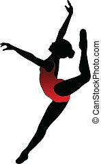 balett, táncol, -, körvonal, vektor, leány