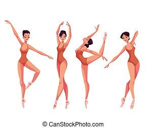 balett-táncosok, papucs, állhatatos, harisnyanadrág, gyönyörű, fiatal