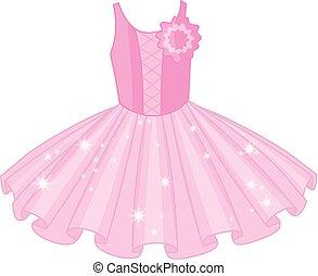 balett, vektor, ruha, rózsaszínű, lágy, tüllszoknya