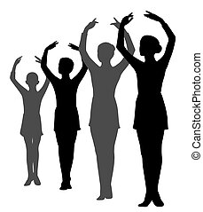 ballerinas, evez, csoport, kézbesít, álló, lány, emelt