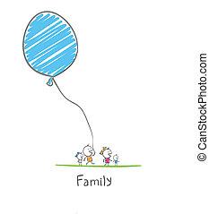 balloon, család, birtok, boldog