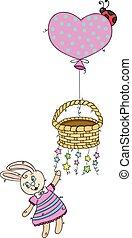 balloon, csillaggal díszít, repülés, csinos, birtok, kosár, nyuszi