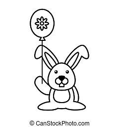 balloon, háttér, hélium, white nyúl