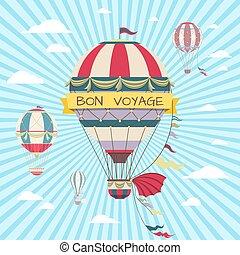 balloon., hajóút, szüret, levegő, csípős, retro, utalvány, poszter, kártya