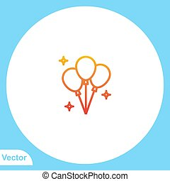 balloon, jelkép, ikon, aláír, vektor