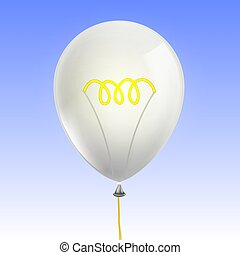 balloon, lámpa, forma, izzó