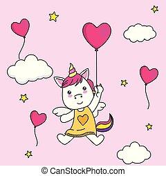 balloon, repülés, heart-shaped, egyszarvú