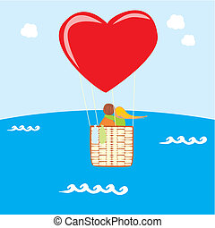 balloon, repülés, heart-shaped