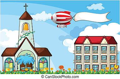 balloon, repülés, transzparens, üres, templom