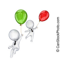 balloons., emberek, kicsi, repülés, 3, levegő