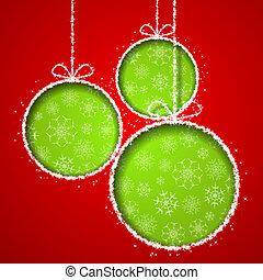 balsl, eps10, cutted, elvont, köszönés, ábra, karácsony, dolgozat, háttér., vektor, zöld, kártya, karácsony, piros