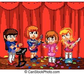 banda, kevés, gyerekek, zene, játék