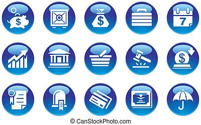 bankügylet, állhatatos, &, ügy icons