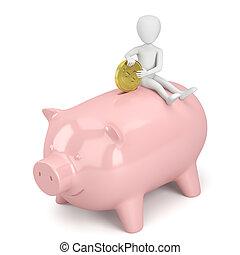 bank., emberek, pénz, -, falánk, kicsi, 3