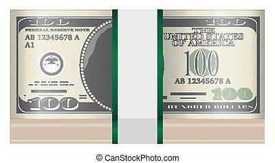 banknotes, $100, white háttér, konzervál