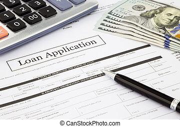 banknotes, alkalmazás, kölcsönad, dollár, forma