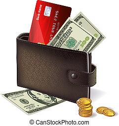 banknotes, hitel, érmek, kártya, levéltárca