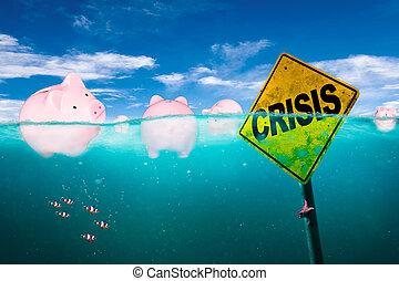 bankot használ, anyagi, tenger, fogalom, falánk, úszó, krízis