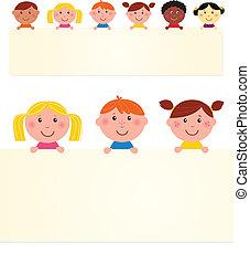 banner., vektor, gyerekek, tiszta, hat, illustration., multicultural
