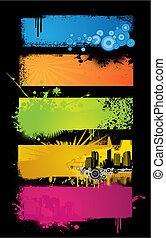banners., állhatatos, színezett