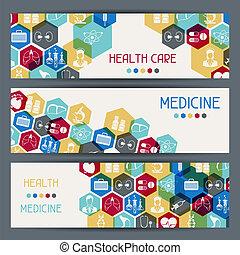 banners., orvosi health, horizontális, törődik
