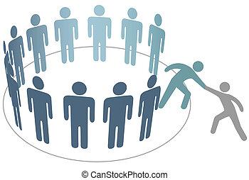 barát, emberek, csatlakozik, felszolgál, tagok, csoport, társaság, pártfogó