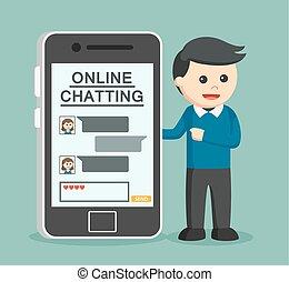 barátnő, ember, övé, beszélgető, online
