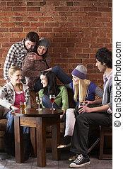 barátok, fiatal, caf