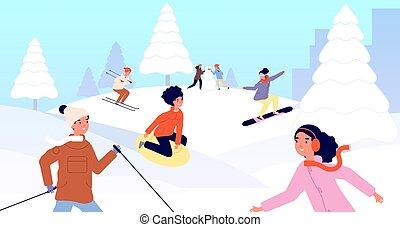 barátok, hó, vektor, activity., ábra, gyerekek, tél, karácsony, fiú, síelés, snowboarding, vacations., gyerekek, ünnepek, leány, boldog, szánkó