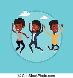 barátok, jumping., csoport, fiatal, vidám