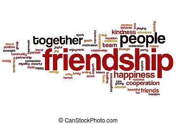 barátság, szó, felhő