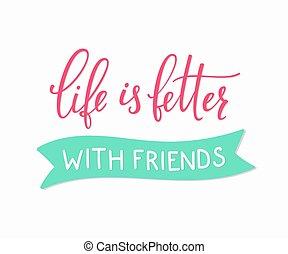 barátság, szeret, felirat