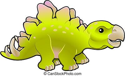 barátságos, ábra, csinos, stegosaurus, vektor