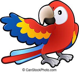 barátságos, ara papagáj, papagáj, ábra, csinos