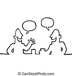 barátságos, beszélgetés, birtoklás, két ember