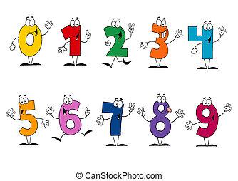barátságos, karikatúra, számok, állhatatos