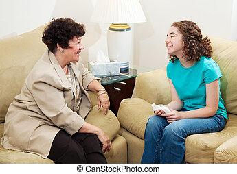 barátságos, tanácsadás, beszélgetés, -