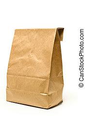 barna, árnyék, papírzacskó, ebédel