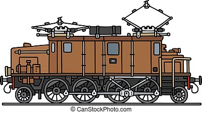barna, öreg, elektromos, lokomotív