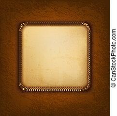barna, öreg, szüret, leather., ábra, dolgozat, vektor, háttér