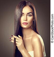 barna, barna nő, szépség, egészséges, hosszú szőr, megható, formál, leány