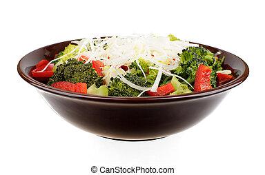 barna, bors, vöröshagyma, salátástál, brokkoli, piros
